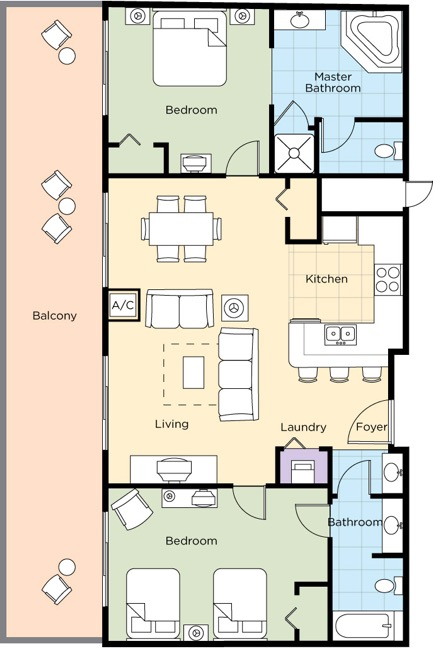 Image of floorplan for Two Bedroom Presidential