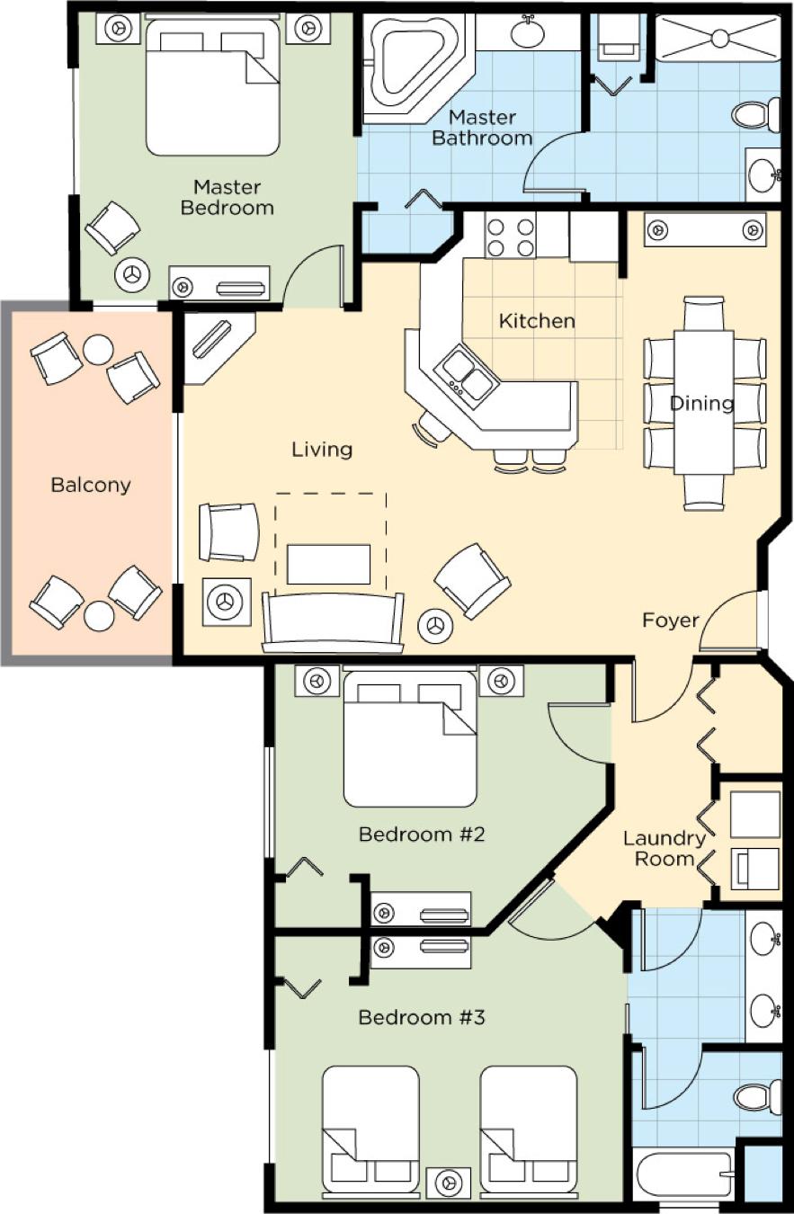 Image of floorplan for Three Bedroom Deluxe