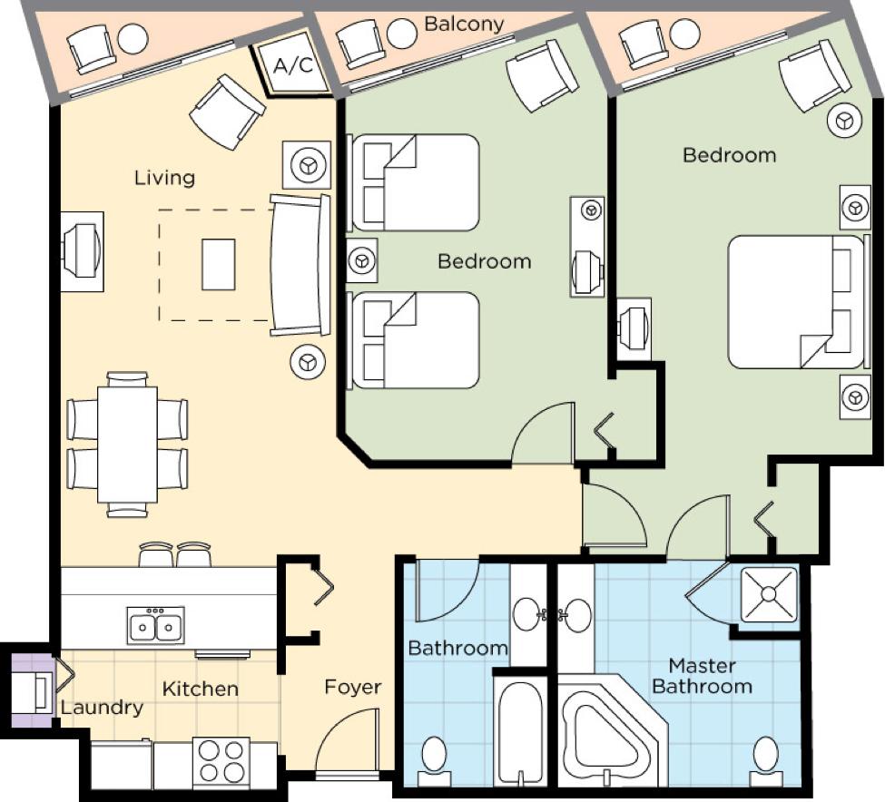 Image of floorplan for Two Bedroom Deluxe Upper Level
