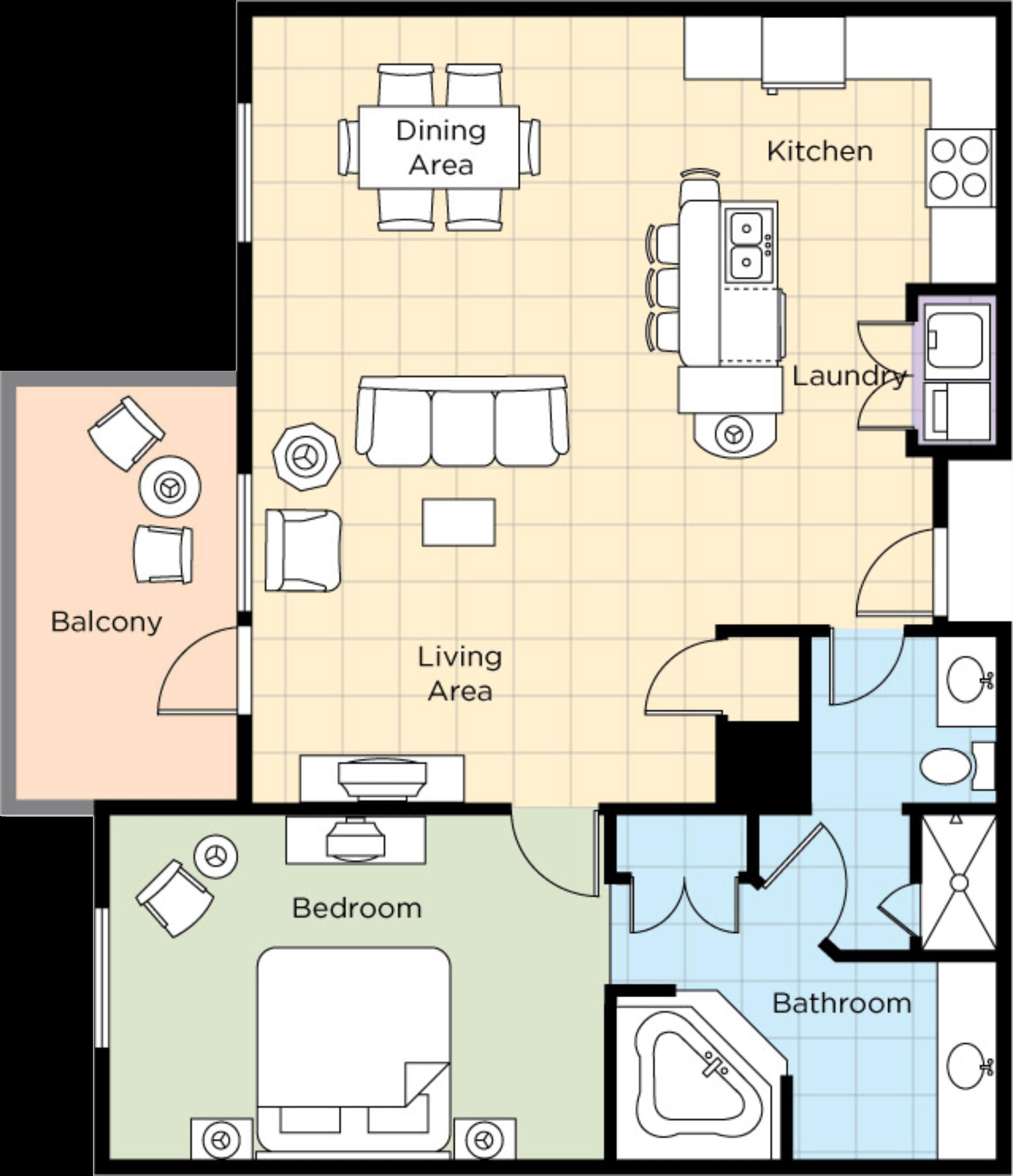 Image of floorplan for One Bedroom Presidential
