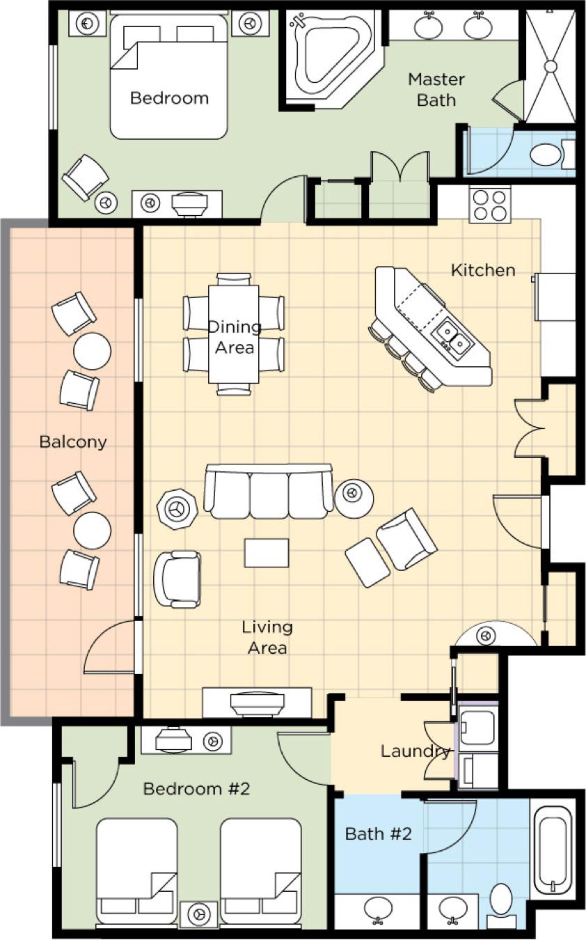 Image of floorplan for Two Bedroom Presidential
