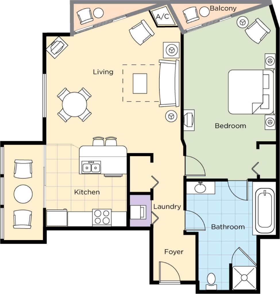 Image of floorplan for One Bedroom Deluxe Upper Level